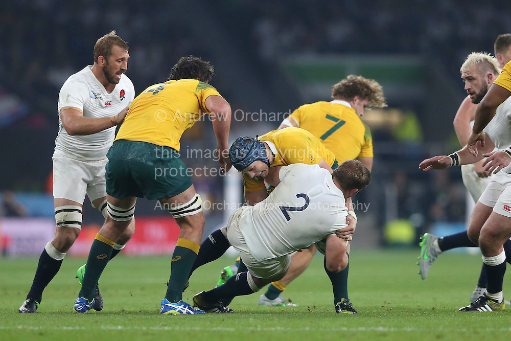 Tom Youngs of England is hauled down by David Pocock of Australia. Rugby World Cup 2015 pool A match, England v Australia at Twickenham Stadium in London, England  on Saturday 3rd October 2015.<br /> pic by  John Patrick Fletcher, Andrew Orchard sports photography.