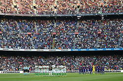 August 20, 2017 - Barcelona, Catalonia, Spain - Minute of silence for the victims of the Barcelona attack before La Liga match between F.C. Barcelona v Alaves, in Barcelona, on September 10, 2016. Photo: Edi Capmany/Urbanandsport/Nurphoto  (Credit Image: © Joan Valls/NurPhoto via ZUMA Press)