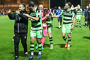 Forest Green Rovers assistant manager, Scott Lindsey gives the thumbs up to the fans at the end of the match during the EFL Sky Bet League 2 match between Yeovil Town and Forest Green Rovers at Huish Park, Yeovil, England on 24 April 2018. Picture by Shane Healey.