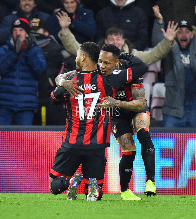 Goal - Joshua King (17) of AFC Bournemouth celebrates scores a goal to give a 1-0 lead to the home team with Nathaniel Clyne (23) of AFC Bournemouth during the Premier League match between Bournemouth and Chelsea at the Vitality Stadium, Bournemouth, England on 30 January 2019.