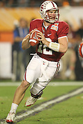 Stanford Cardinal quarterback Andrew Luck (12) looks for an open receiver during the 2011 Orange Bowl held at Sun Life Stadium  in Miami Gardens, FL. .