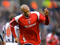 WEST BROMWICH, ENGLAND - Saturday, December 15, 2007: Charlton's Chris Iwelumo celebrates scoring the opening goal against West Bromwich Albion during the League Championship match at the Hawthorns. (Photo by David Rawcliffe/Propaganda)