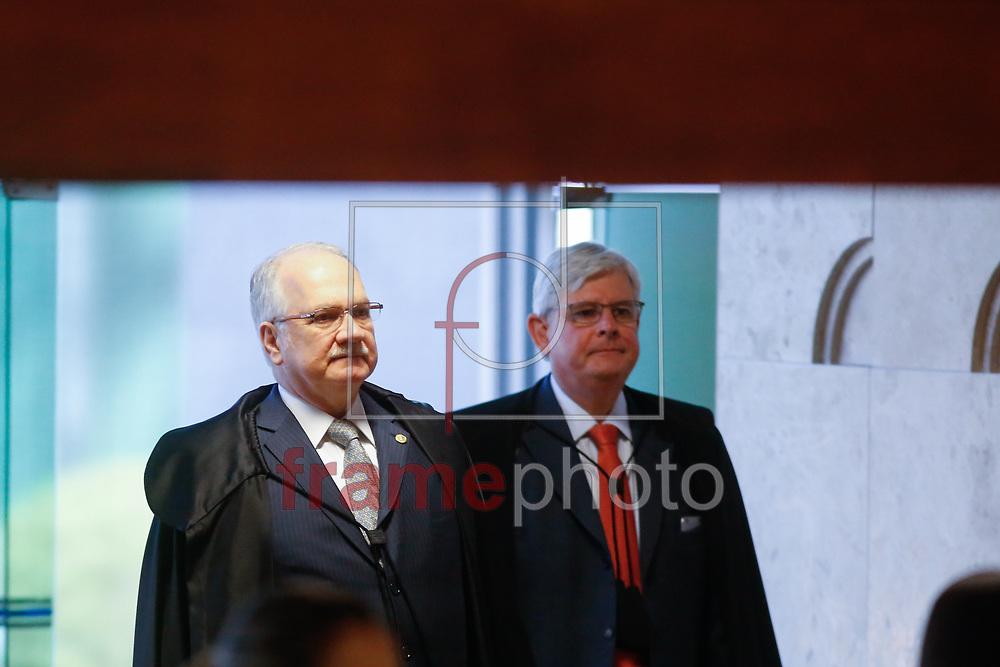 Procurador Geral da Rep&uacute;blica,Rodrigo Janot, e Ministro edson Fachin, em sess&atilde;o plen&aacute;ria do STF,<br /> nesta quarta feira (06) em Bras&iacute;lia. Foto: Walterson Rosa/Framephoto.