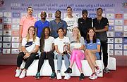 Athletes pose at an IAAF Diamond League press conference prior to the  Meeting International Mohammed VI d'Athletisme de Rabat 2019, Saturday, June 15, 2019, in Rabat, Morocco. Front row (from left): Dafne Schippers (NED), Phyllis Francis (USA), Rababe Arafi (MAR), Sandi Morris (USA), Katerina Stefanidi (GRE). Back row: Sergey Shubenkov (RUS), Jeff Henderson (USA), Soufiane El Bakkali (MAR), Luvo Manyonga (RSA) and Juan Miguel Echevarria (CUB). (Image of Sport)