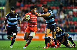 Manu Tuilagi (Leicester) takes on the Cardiff Blues defence - Photo mandatory by-line: Patrick Khachfe/JMP - Mobile: 07966 386802 29/08/2014 - SPORT - RUGBY UNION - Leicester - Welford Road - Leicester Tigers v Cardiff Blues - Pre-Season Friendly