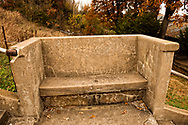 Pawhuska, Oklahoma, cement bench beside stairs leading from Kihekah Avenue to Grandview Avenue