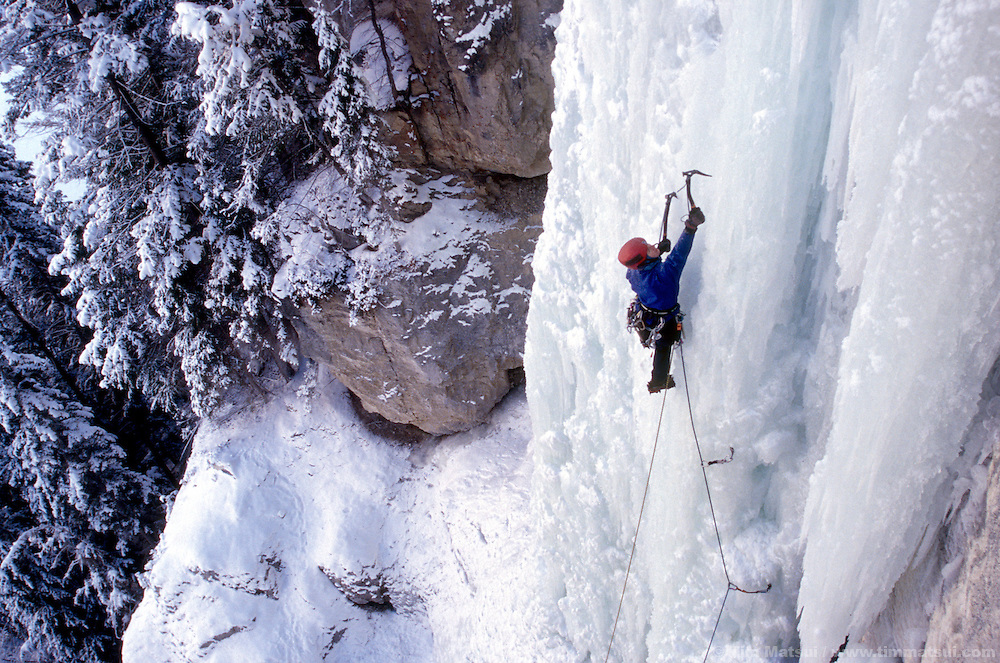 Kristie Arend leading the third pitch of ICBC, rated WI5, near Lillooet, British Columbia.