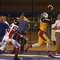 Adam Robison | BUY AT PHOTOS.DJOURNAL.COM<br /> Tupelo widereceiver Jordan Jernigan goes for the catch late in the first quarter against South Panola.