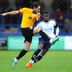 TELFORD COPYRIGHT MIKE SHERIDAN 1/12/2018 - Amari Morgan-Smith of AFC Telford closes down Luca Havern (formerly of AFC Telford United) during the Vanarama Conference North fixture between AFC Telford United and Bradford Park Avenue AFC.