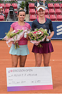 María Irigoyen (Argentina) and Barbora Krejcikova (Czech Republic) finished runners-up in doubles at the 2017 WTA Ericsson Open in Båstad, Sweden, July 30, 2017. Photo Credit: Katja Boll/EVENTMEDIA.