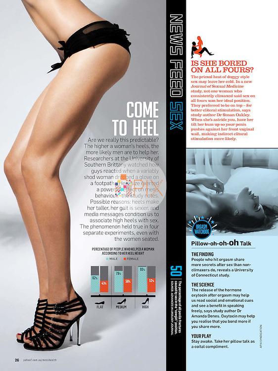 Legs for days!  Men's Health magazine in Australia offers some interesting stats relating to the height of women's heels, as well as the science of pleasure.  <br /> <br /> Main image from our shoot 'body lines' [http://www.apixsyndication.com/gallery/body-lines/G0000RK_bQa6Zm7M/C0000Fw37LnFPBOY] and smaller image from our shoot of 'Bayan' [http://www.apixsyndication.com/gallery/Bayan/G000081LvFYulpbc/C0000KEPlbcq9FEM], both of which are available for worldwide use with approval.