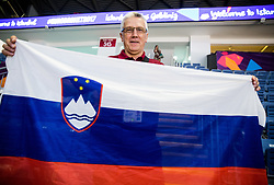Peter Vilfan, former basketball player of Slovenia as commentator of Kanal A with Slovenian flag posing prior to the Final basketball match between National Teams  Slovenia and Serbia at Day 18 of the FIBA EuroBasket 2017 at Sinan Erdem Dome in Istanbul, Turkey on September 17, 2017. Photo by Vid Ponikvar / Sportida
