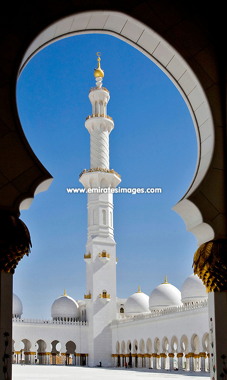 Minaret at Sheikh Zayed Mosque in Abu Dhabi, United Arab Emirates
