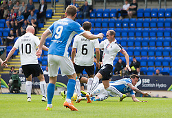 St Johnstone's Danny Swanson brought down for their first penalty. St Johnstone 3 v 0 Falkirk, Group B, Betfred Cup, played 23/7/2016 at St Johnstone's home ground, McDiarmid Park.