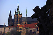 Prague Castle as seen from the Charles Bridge in Prague, Czech Republic. The castle, first constructed in the 10th century is the seat of government in the Czech Republic.