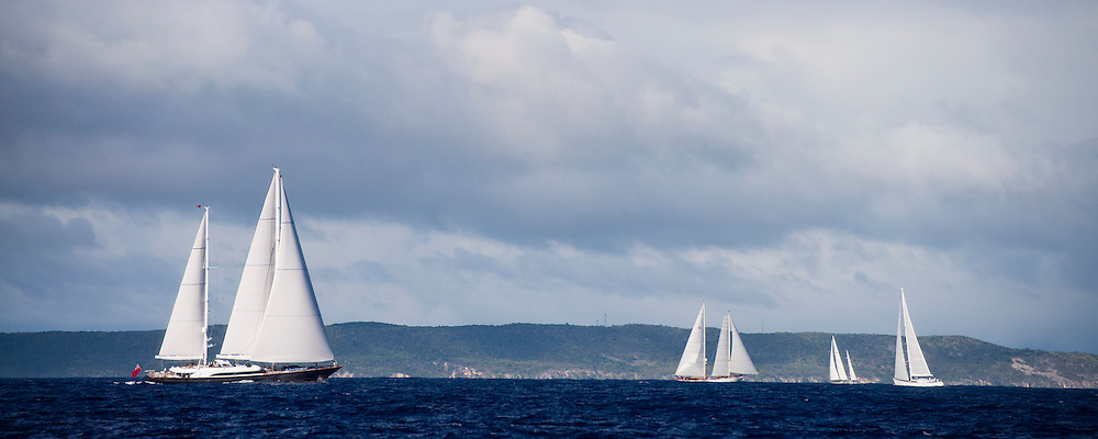 Panthalassa sailing in the Antigua Superyacht Challenge, day one.