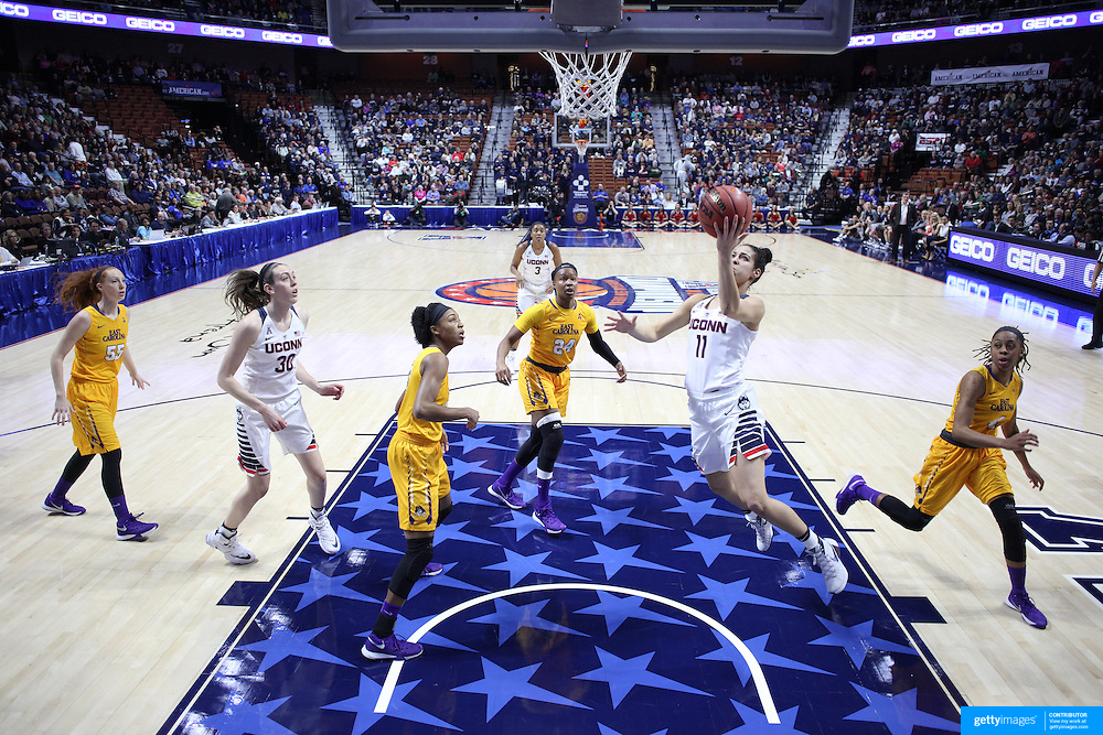 Kia Nurse, UConn, drives to the basket for two points during the UConn Huskies Vs East Carolina Pirates Quarter Final match at the  2016 American Athletic Conference Championships. Mohegan Sun Arena, Uncasville, Connecticut, USA. 5th March 2016. Photo Tim Clayton