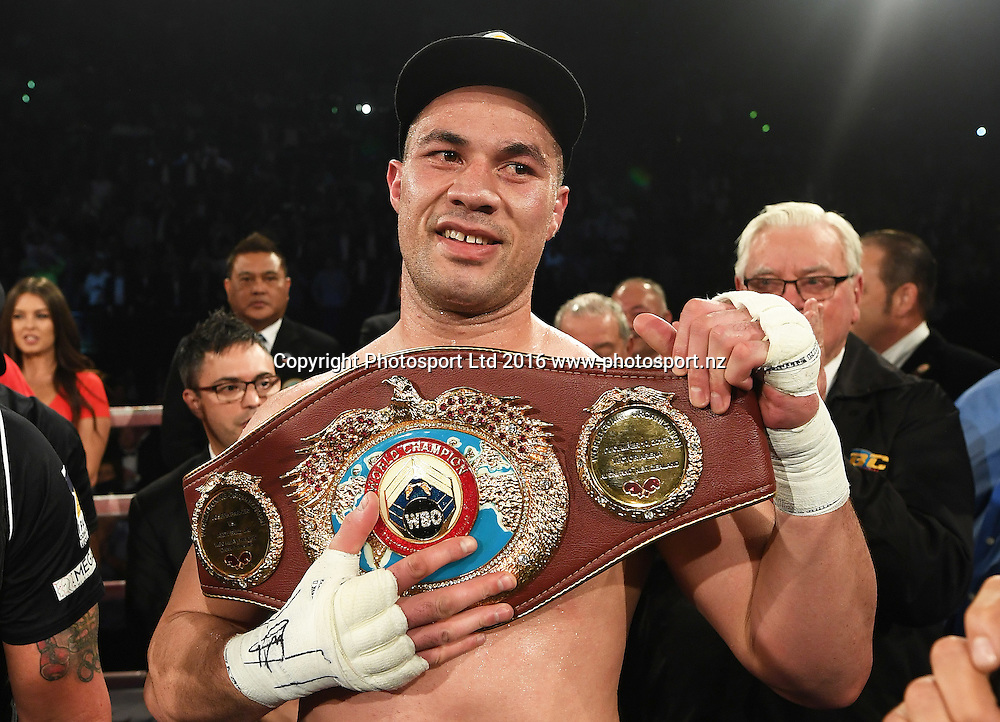 New Zealand heavyweight boxer Joseph Parker after defeating Andy Ruiz Jr. <br /> WBO World Heavyweight Title. Burger King Road to the title by Duco Boxing. Vector Arena, Auckland, New Zealand. Saturday 10 December 2016. &copy; Copyright Photo: Andrew Cornaga / www.photosport.nz