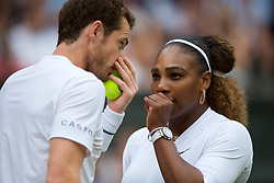 LONDON, ENGLAND - Saturday, July 6, 2019: Andy Murray (GBR) and Serena Williams (USA) during the Mixed Doubles first round match on Day Six of The Championships Wimbledon 2019 at the All England Lawn Tennis and Croquet Club. Murray & Williams won 6-4, 6-1. (Pic by Kirsten Holst/Propaganda)