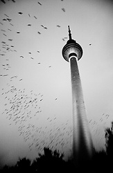 Berlin tv tower, the highest tower in east  Berlin. It was made to show to the west that they had television.