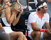 Aug. 24, 2015 - New York, NY, USA - <br /> <br /> Nike NYC Street Tennis Event <br /> <br /> Tennis players Maria Sharapova and Roger Federer attend Nike's 'NYC Street Tennis' event <br /> ©Exclusivepix Media