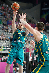 07.09.2014, Palau Sant Jordi, Barcelona, ESP, FIBA WM, Australien vs Türkei, Achtelfinale, im Bild Australia's Adam Gibson // during FIBA Basketball World Cup Spain 2014 round of 16 match between Australia and Turkey at the Palau Sant Jordi in Barcelona, Spain on 2014/09/07. EXPA Pictures © 2014, PhotoCredit: EXPA/ Alterphotos/ Acero<br /> <br /> *****ATTENTION - OUT of ESP, SUI*****