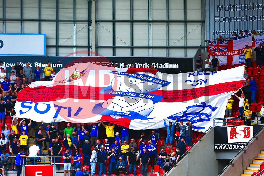 Birmingham City pass a giant flag across their stand before kick off - Mandatory by-line: Ryan Crockett/JMP - 22/04/2019 - FOOTBALL - Aesseal New York Stadium - Rotherham, England - Rotherham United v Birmingham City - Sky Bet Championship