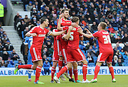 Nottingham Forest's Danny Collins scores 1-1 during the Sky Bet Championship match between Brighton and Hove Albion and Nottingham Forest at the American Express Community Stadium, Brighton and Hove, England on 7 February 2015. Photo by Phil Duncan.