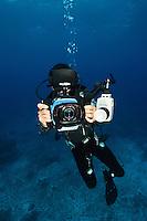 Underwater cameraman, Rurbas, West Papua, Indonesia.