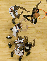 Wake Forest's Jamie Skeen (31) tips in a shot against UVA.  The Virginia Cavaliers defeated the Wake Forest Demon Decons 88-76 at the John Paul Jones Arena in Charlottesville, VA on January 21, 2007.