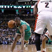 09 March 2012: Boston Celtics guard E'Twaun Moore (55) almost fells as he drives past  Portland Trailblazers guard Wesley Matthews (2) during the Boston Celtics 104-86 victory over the Portland Trail Blazers at the TD Banknorth Garden, Boston, Massachusetts, USA.