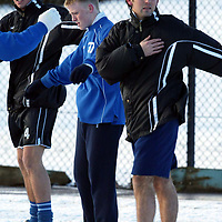 St Johnstone Training...03.02.03     Youngster Mark Baxter whose last minute goal salvaged a replay against Airdre tomorrow night training in the snow this morning with John Robertson and Paul Hartley.<br />see story by Gordon Bannerman.  Tel 01738 553978<br /><br />Picture by Graeme Hart.<br />Copyright Perthshire Picture Agency<br />Tel: 01738 623350  Mobile: 07990 594431