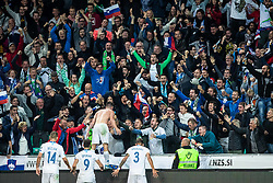Benjamin Verbic of Slovenia with Roman Bezjak of Slovenia, Andraž Šporar of Slovenia Jure Balkovec of Slovenia with Spectators celebrating after winning goal during the 2020 UEFA European Championships group G qualifying match between Slovenia and Israel at SRC Stozice on September 9, 2019 in Ljubljana, Slovenia. Photo by Grega Valancic / Sportida