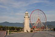Ferris wheel in the Park of Miracles on the embankment. Batumi, Georgia