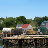 Panorama in Port Clyde, Maine with lobster traps and village.