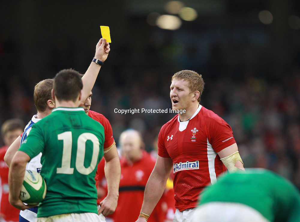 RBS Six Nations Championship, Aviva Stadium, Dublin 5/2/2012<br /> Ireland vs Wales<br /> Wales Bradley Davies gets a yellow card for the tackle on Donnacha Ryan<br /> Mandatory Credit &copy;INPHO/Billy Stickland