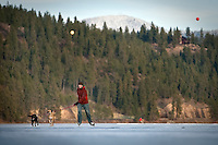 """JEROME A. POLLOS/Press..David Spoelstra's dogs Jiggs and Huck pull him along the ice covering Fernan Lake during an afternoon """"walk"""" across the length of the lake."""