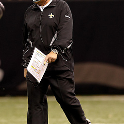 November 21, 2010; New Orleans, LA, USA; New Orleans Saints defensive coordinator Gregg Williams on the field during the second half against the Seattle Seahawks at the Louisiana Superdome. The Saints defeated the Seahawks 34-19. Mandatory Credit: Derick E. Hingle