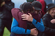 Eddie Pepperell of England embraces his partner after winning the British Masters 2018 at Walton Heath Golf Course, Walton On the Hill, Surrey on 14 October 2018. Picture by Martin Cole.