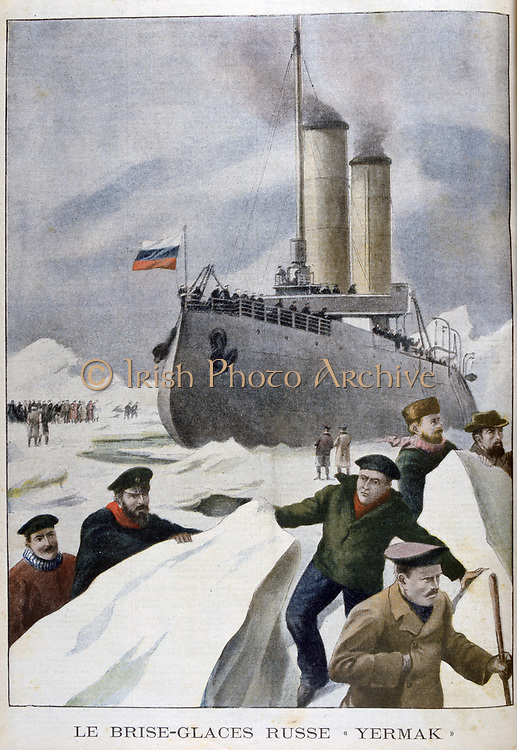 The Russian icebreaker 'Yermak' at work in a frozen sea.  From 'Le Petit Journal',  Paris, 11 May 1902.