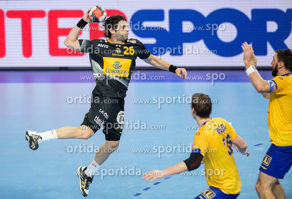 Antonio Jesus Garcia of Spain during handball match between National teams of Spain and Sweden on Day 6 in Preliminary Round of Men's EHF EURO 2016, on January 20, 2016 in Centennial Hall, Wroclaw, Poland. Photo by Vid Ponikvar / Sportida