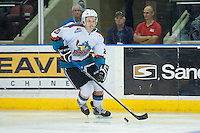 KELOWNA, CANADA - SEPTEMBER 5: Gage Quinney #20 of Kelowna Rockets skates with the puck against the Prince George Cougars on September 5, 2015 during the first pre-season game at Prospera Place in Kelowna, British Columbia, Canada.  (Photo by Marissa Baecker/Shoot the Breeze)  *** Local Caption *** Gage Quinney;