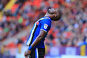 Calvin Andrew reaction to missed chance during the EFL Sky Bet League 1 match between Charlton Athletic and Rochdale at The Valley, London, England on 1 October 2016. Photo by Daniel Youngs.