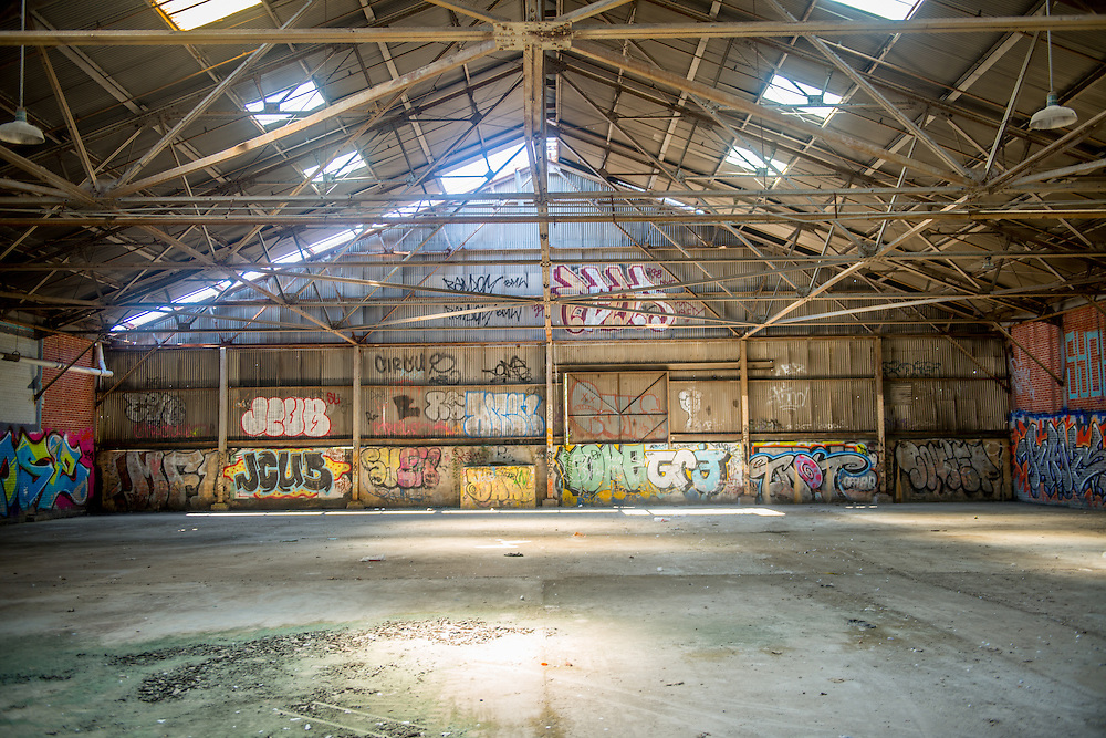 Abandoned industrial warehouse with graffiti, located in south Baltimore.