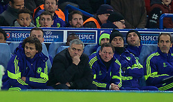 LONDON, ENGLAND - Wednesday, December 10, 2014: Chelsea's manager Jose Mourinho during the final UEFA Champions League Group G match against Sporting Clube de Portugal at Stamford Bridge. (Pic by David Rawcliffe/Propaganda)