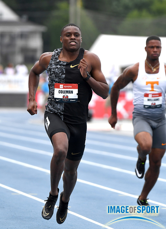 Jul 25, 2019; Des Moines, IA, USA; Christian Coleman wins 100m heat in 10.29 during the USATF Championships at Drake Stadium.