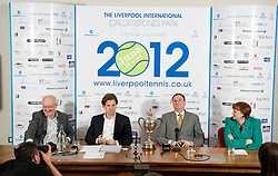 LIVERPOOL, ENGLAND - Wednesday, April 18, 2012: L-R Alan Jackson (BBC Radio Merseyside), Tournament Director Anders Borg, Tennis Ambassador Phil Thompson and Liverpool City Council Councillor Roz Gladden (Deputy Leader and Cabinet Member for Adult Social Care and Health) during a press conference to launch the 2012 Liverpool International Tennis Tournament at the Hilton Hotel. (Pic by David Rawcliffe/Propaganda)