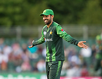 EDINBURGH, SCOTLAND - JUNE 12: Shadab Khan senses victory in the first of 2 Twenty20 Internationals at the Grange Cricket Club on June 12, 2018 in Edinburgh, Scotland. (Photo by MB Media/Getty Images)