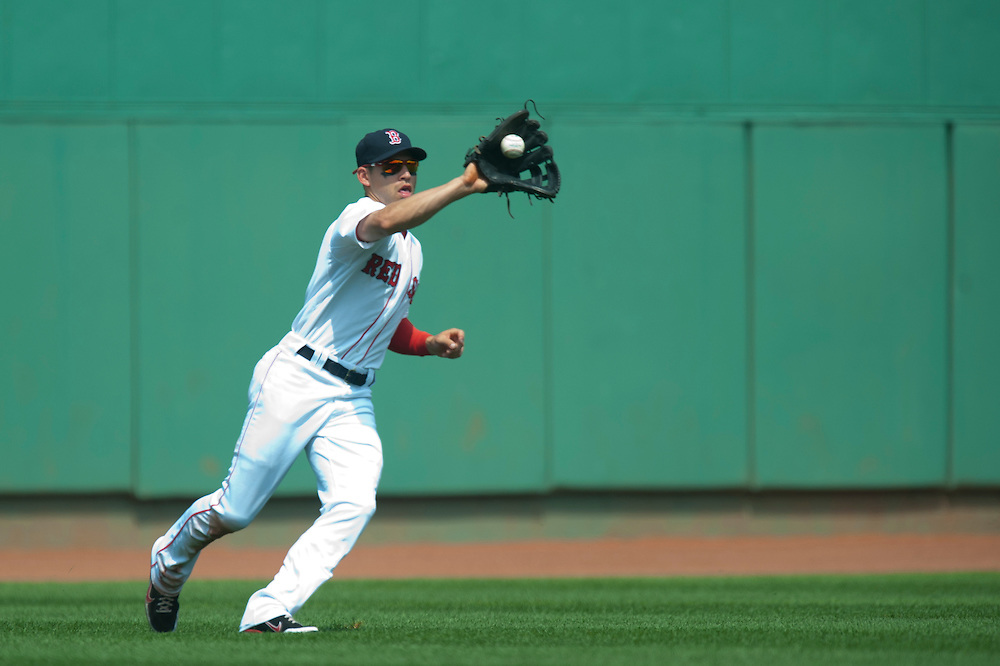BOSTON - JULY 28: Jacoby Ellsbury #2 of the Boston Red Sox fields his position during the game against the Kansas City Royals at Fenway Park on July 28, 2011 in Boston, Massachusetts. (Photo by Rob Tringali) *** Local Caption *** Jacoby Ellsbury