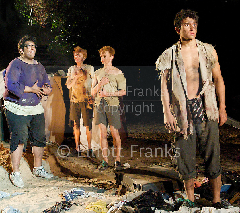 Lord of the Flies<br /> by William Golding <br /> adapted for stage by Nigel Williams<br /> at Regent's Park, Open Air Theatre, London, Great Britain <br /> press photocall<br /> 20th May 2011<br /> <br /> <br /> George Bukhari (as Piggy)<br /> James McConville (as Sam)<br /> Stuart Matthews (as Eric)<br /> Alistair Toovey (as Ralph)<br /> <br /> <br /> Photograph by Elliott Franks